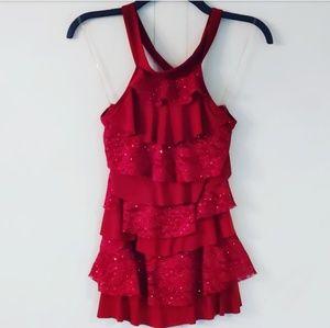 Red sequin halter ruffle top
